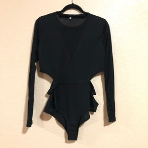 Charlotte Russe XL Black Cut Out Bodysuit Sheer